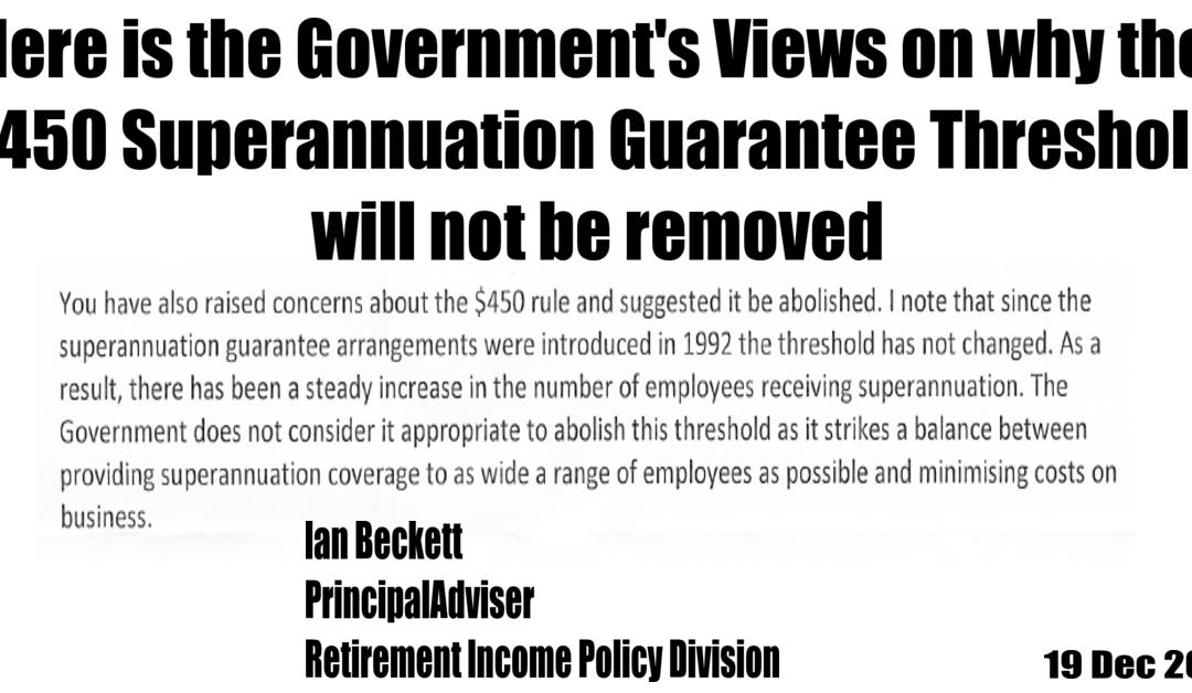 The $450 Superannuation Guarantee Threshold